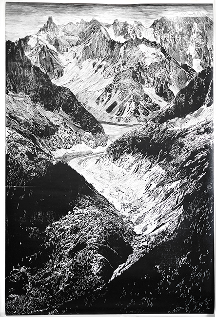The Eight Trigrams of the I Ching- Ken Mountain 易經八卦-艮卦(山)Wood Engraving 木口木刻 90x60 cm Edition no. 16